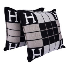 Hermes Cushion Avalon III Black / Ecru Small Model Throw Pillow Set of Two
