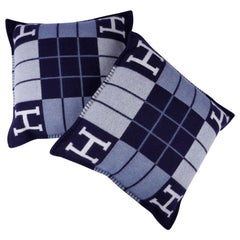 Hermes Cushion Avalon III Blue Small Model Throw Pillow Set of Two