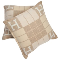 Hermes Cushion Avalon III PM H Coco and Camomille Throw Pillow Set of Two