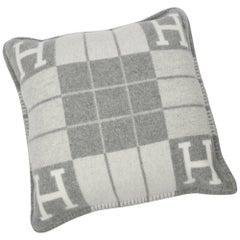 Hermes Cushion Avalon III PM H Ecru Gris Clair Throw Pillow  Set of Two