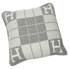 Hermes Cushion Avalon III PM H Ecru Gris Clair Throw Pillow