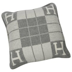 Hermes Cushion Avalon III PM H Ecru Gris Clair Throw Pillow  / More Than 1 Avail