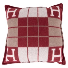 Hermes Cushion Avalon III Rouge H / Ecru Small Model Throw Pillow