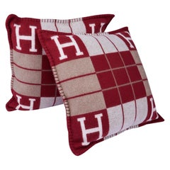 Hermes Cushion Avalon III Rouge H / Ecru Small Model Throw Pillow Set of Two