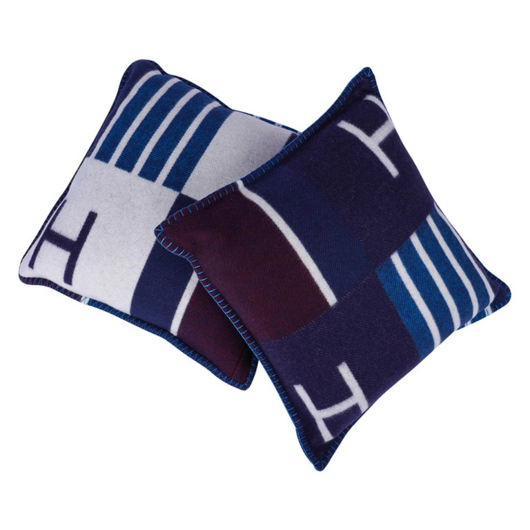 Hermes Cushion Avalon Vibration Blue Marine Small Model Throw Pillow Set of Two For Sale 1
