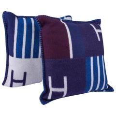 Hermes Cushion Avalon Vibration Blue Marine Small Model Throw Pillow Set of Two