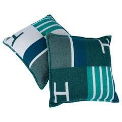Hermes Cushion Avalon Vibration Vert Small Model Throw Pillow Set of Two