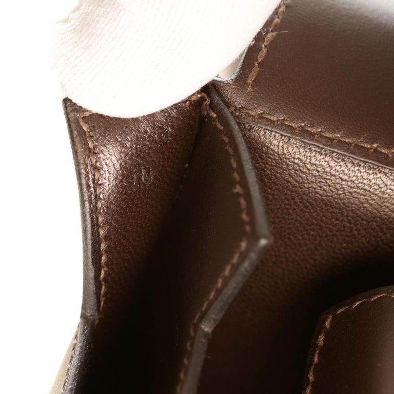 Hermès Custom Espresso Evergrain Shoulder Bag For Sale 6