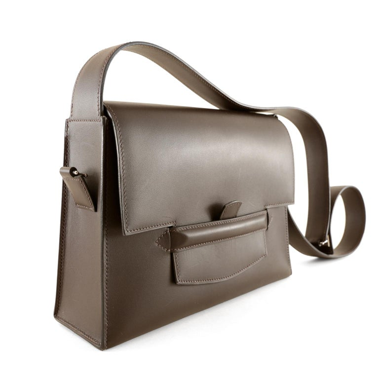 Hermès Espresso Evergrain Shoulder Bag- Custom piece in mint condition, quite possibly never carried.   Each bag is hand made by skilled artisans; this particular bag is extremely rare.   Deep Espresso brown Evergrain leather is rigid, giving this