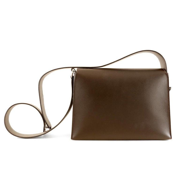 Brown Hermès Custom Espresso Evergrain Shoulder Bag For Sale