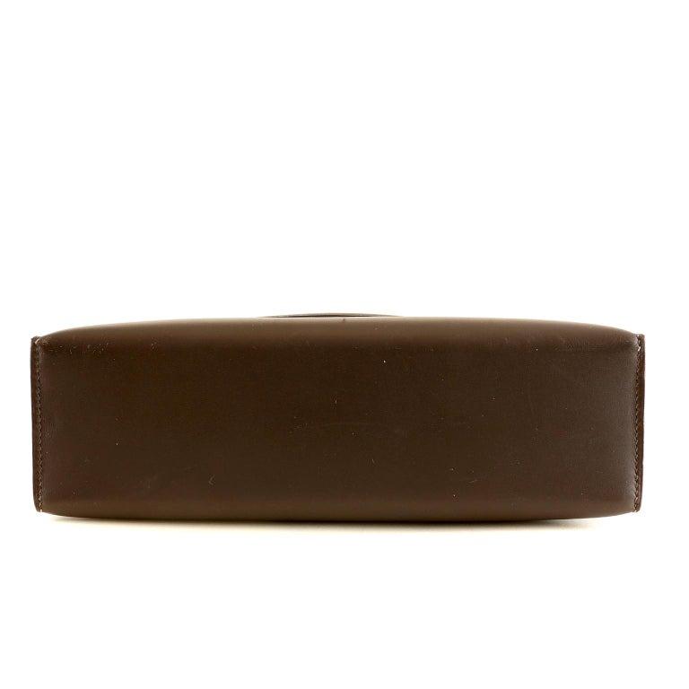 Hermès Custom Espresso Evergrain Shoulder Bag In Excellent Condition For Sale In Palm Beach, FL