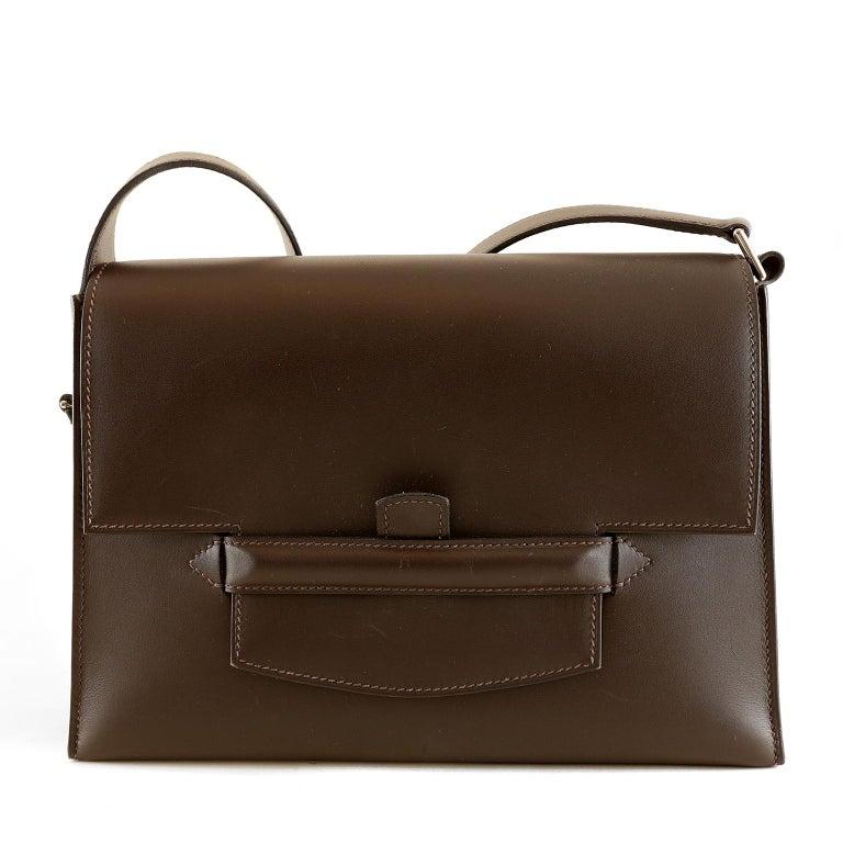 Women's Hermès Custom Espresso Evergrain Shoulder Bag For Sale