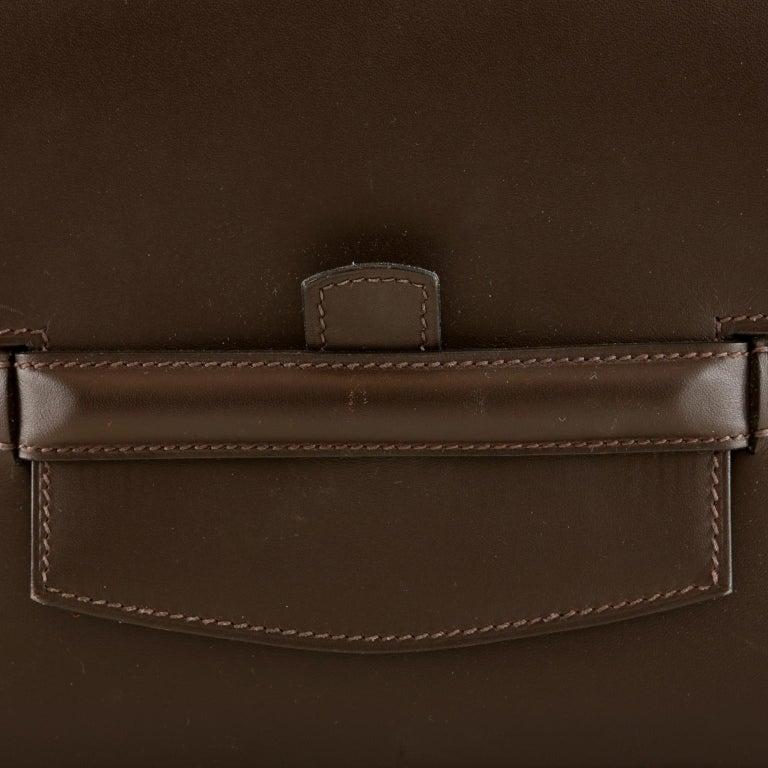 Hermès Custom Espresso Evergrain Shoulder Bag For Sale 1