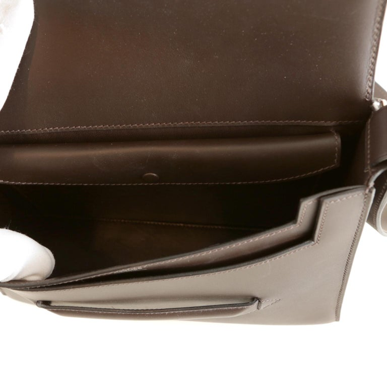 Hermès Custom Espresso Evergrain Shoulder Bag For Sale 2