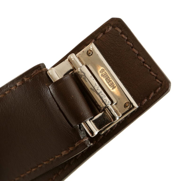 Hermès Custom Espresso Evergrain Shoulder Bag For Sale 3