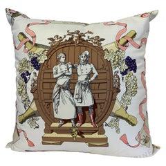 """Hermès of Paris """"A la Gloire de la Cuisine Française"""" Silk Scarf Pillow"""