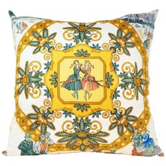 Hermès Custom Silk Scarf Pillow 'Joies d'Hiver' by Joachim Metz with Hermès Box