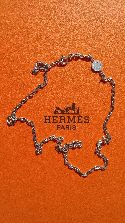 Hermès Cute Mini Chaine d'Ancre Clou de Selle Chain Necklace Silver RARE 7
