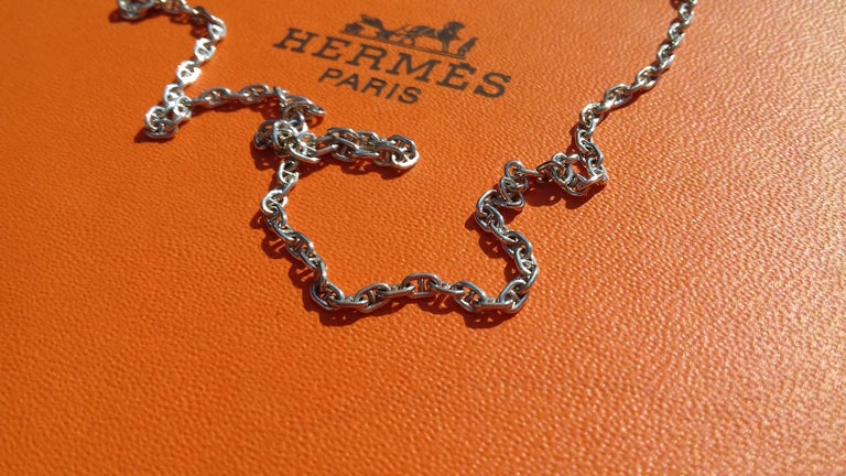 Hermès Cute Mini Chaine d'Ancre Clou de Selle Chain Necklace Silver RARE 8