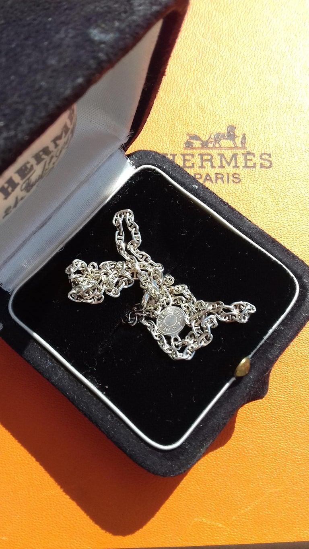 Hermès Cute Mini Chaine d'Ancre Clou de Selle Chain Necklace Silver RARE 9