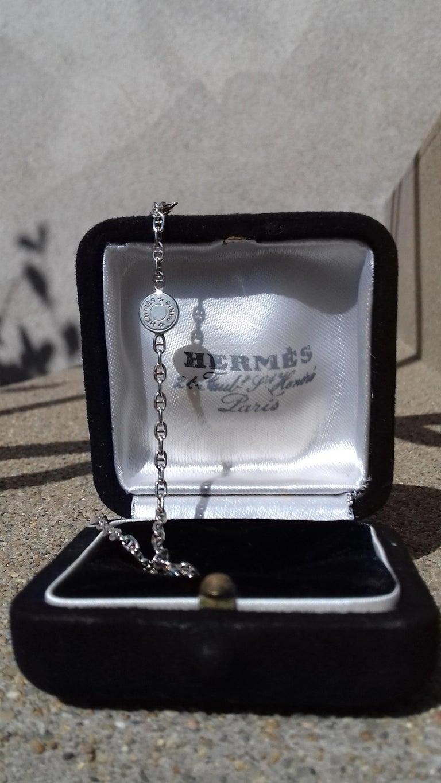 Hermès Cute Mini Chaine d'Ancre Clou de Selle Chain Necklace Silver RARE 11