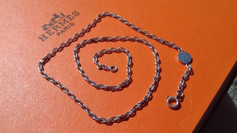 Hermès Cute Mini Chaine d'Ancre Clou de Selle Chain Necklace Silver RARE 12