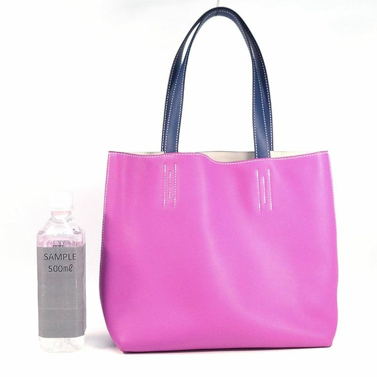 An authentic HERMES D Engraved mark(2019 ) Double Sens28 Womens tote bag rose purple x blue s. The color is rose purple x blue saphir x beton. The outside material is Veau Sikkim. The pattern is Double Sens28. This item is Contemporary. The year of