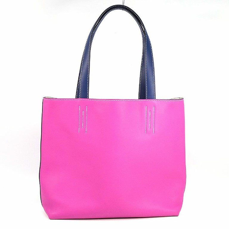 HERMES D Engraved mark(2019 ) Double Sens28 Womens tote bag rose purple x blue s In Excellent Condition For Sale In Takamatsu-shi, JP
