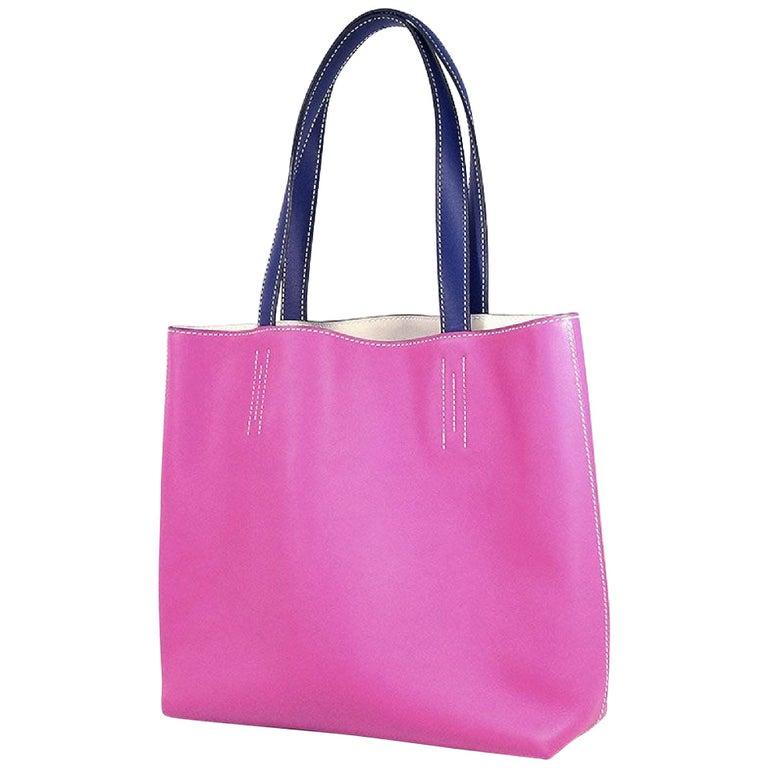 HERMES D Engraved mark(2019 ) Double Sens28 Womens tote bag rose purple x blue s For Sale