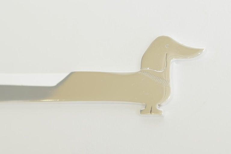 Hermès Dachshund Dog Silver Plate Letter Opener Desk Accessory Vintage Rare In Good Condition For Sale In North Miami, FL