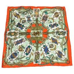 Hermes Dame De Coeur A Vou L'honneur Silk Pocket Square 45 Handkerchief