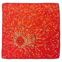 Hermès Dancing Pearls Red Silk Scarf