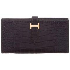 Hermes Dark Blue Alligator Exotic Leather Gold 'H' Logo Clutch Wallet in Box