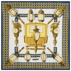 Hermes dark blue white FEUX DE ROUTE 90 silk twill Scarf