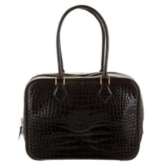 Hermes Dark Brown Alligator Exotic Skin Small Evening Top Handle Satchel Bag