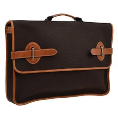 Hermes Dark Brown Canvas Cognac Leather Buckle Flap Business Briefcase Bag