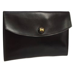 Hermes Dark Brown Chocolate Leather Envelope Evening Clutch Flap Bag