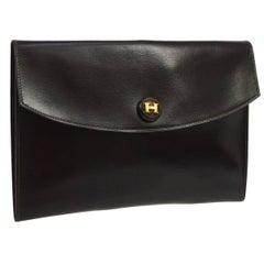 Hermes Dark Brown Chocolate Leather Envelope Evening Clutch Flap Bag