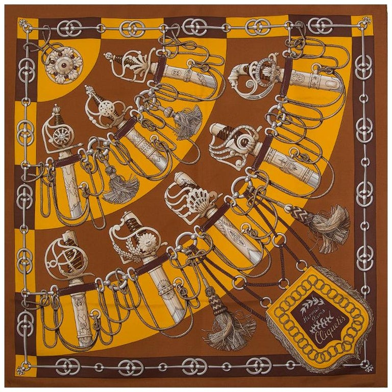 Hermes dark brown CLIQUETIS 90 silk twill Scarf For Sale