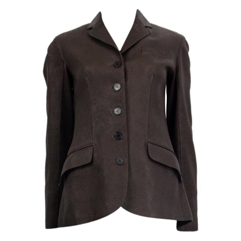 HERMES dark brown DEER SKIN LEATHER BUTTON-FRONT Jacket 38 S