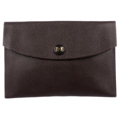 Hermes Dark Brown Leather Gold 'H' Logo Button Envelope Evening Clutch Bag