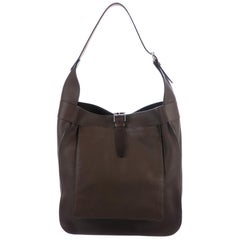 Hermes Dark Brown Leather Palladium Large Carryall Travel Tote Hobo Shoulder Bag