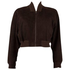 HERMES dark brown suede leather CROPPED BOMBER Jacket 42 L