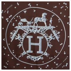Hermes dark brown VIF ARGENT 90 silk twill Scarf