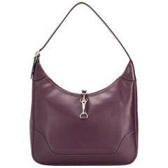 Hermes Dark Cassis Trim Shoulder Tote Bag