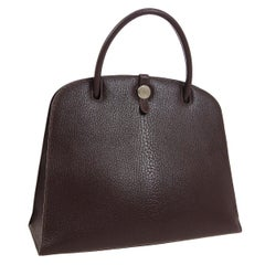 Hermes Dark Chocolate Brown Leather Top Handle Satchel Carryall Tote Bag