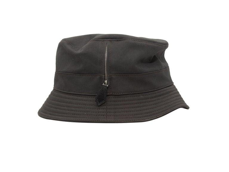 Product details: Dark grey pocket bucket hat by Hermes. Designer size 56. 3