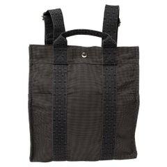 Hermes Dark Grey Canvas Herline PM Travel Backpack