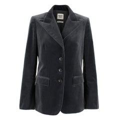 Hermes Dark Grey Single Breasted Velvet Blazer FR 38