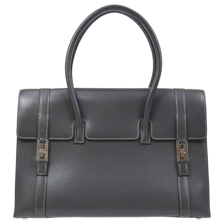 Hermes Dark Gunmetal Leather Silver Buckle Evening Top Handle Satchel Tote Bag